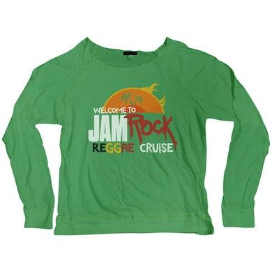 "Welcome To Jamrock 2015 ""Reggae Cruise"" Women's Long Sleeve Green Scoop Neck T-shirt"
