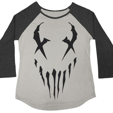 "Mushroomhead ""X-Face"" women's 3/4 sleeve raglan with black print"