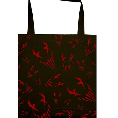 """Mushroomhead """"X Face"""" allover red print tote bag"""