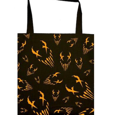 "Mushroomhead ""X Face"" allover orange print tote bag"