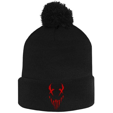 "Mushroomhead ""X-Face"" Red Print Pon Pon Beanie"
