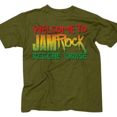 """Welcome To Jamrock 2016 """"Stacked Logo"""" Olive Green T-Shirt"""
