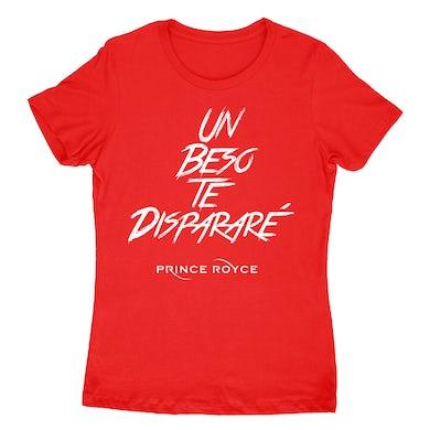 Prince Royce Women's Red SS-Un Beso Te Disparare Logo