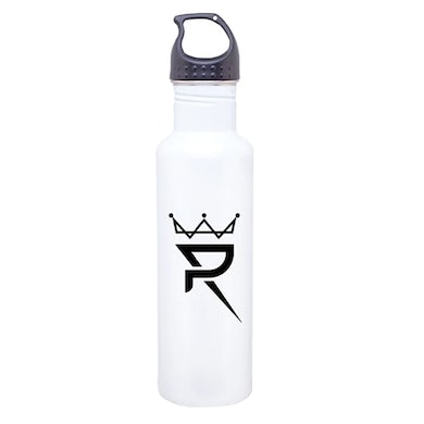 Prince Royce White Stainless Water Bottle-Crown Logo