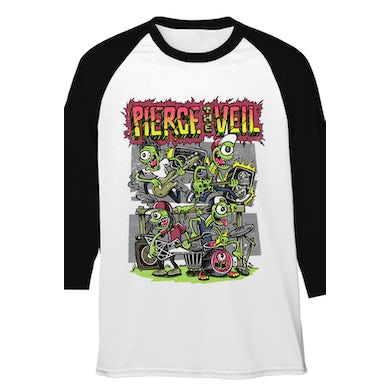 Pierce The Veil Monsters Destroy Tour Raglan (White/Black)