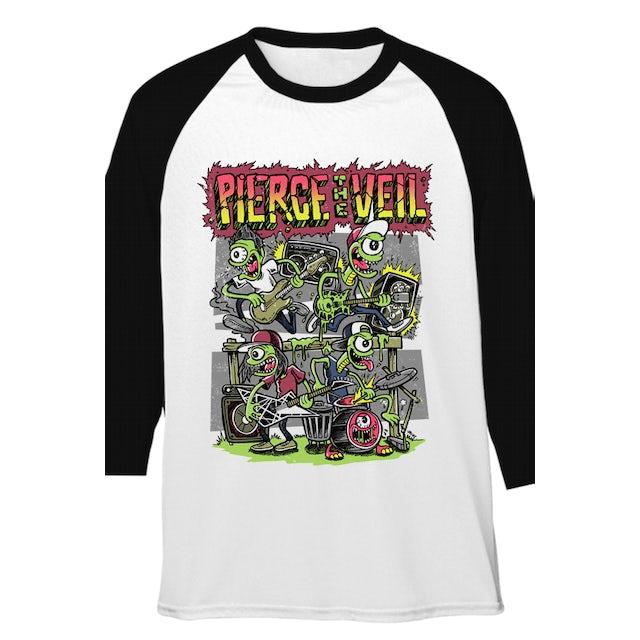 Pierce The Veil Monsters Destroy Tour Raglan (White/Black)