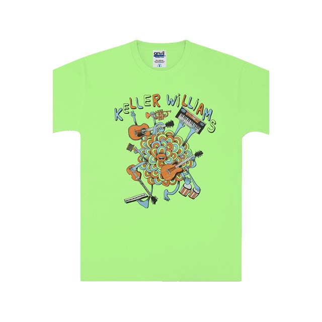 Keller Williams One Man Band Kids Tee (Neon Green)