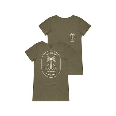JJ Grey & Mofro Palm Ladies V-Neck (Military Green)