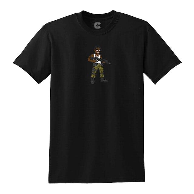 Luh Soldier Cartoon Soldier Black Tee