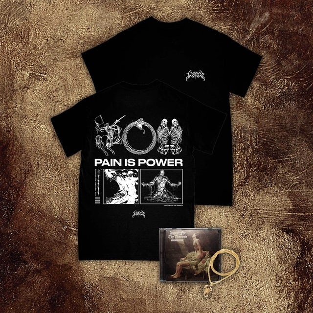Justice For The Damned Pain Is Power CD + Tee