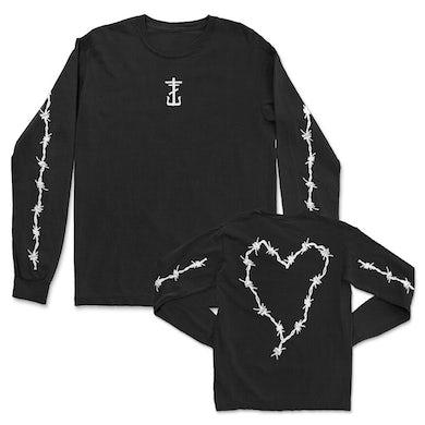 Frank Iero Barbed Wire Heart Long Sleeve (Black)