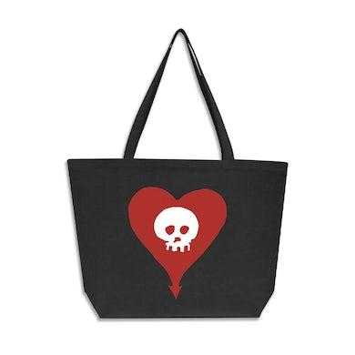 Alkaline Trio Heart Skull Oversized Tote Bag (Faded Black)