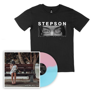 Stepson Help me, Help you Vinyl (Baby Pink/Electric Blue) + Perception Tee