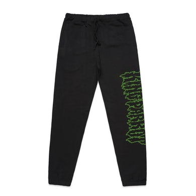 Green Logo Track Pants (Black)