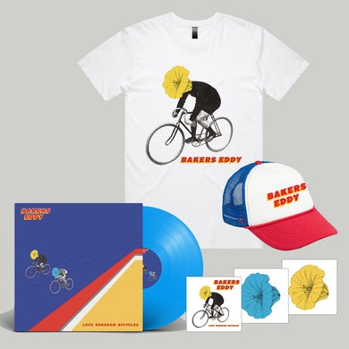 Love Boredom Bicycles LP (Blue Vinyl) + Tee + Hat + Stickers