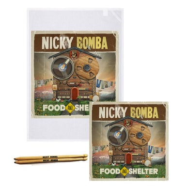 Nicky Bomba Food And Shelter Download + Book + Tea Towel