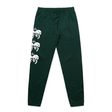 Clashing Skulls Track Pants (Forest Green)