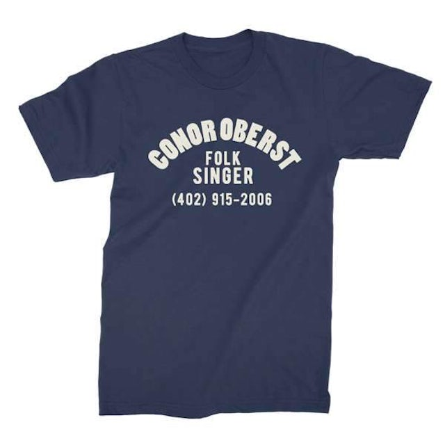 Conor Oberst | Folk Singer T-Shirt - Faded Navy/White
