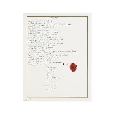 """""""Warpaint"""" Handwritten Lyric Sheet *PREORDER*"""