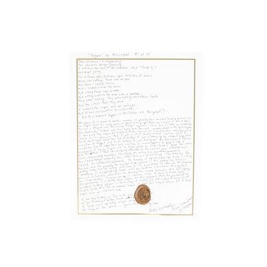 """""""Oxygen"""" Handwritten Lyric Sheet *PREORDER*"""