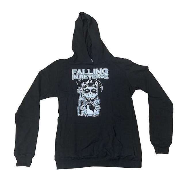 Falling In Reverse Tattoo Cat Juniors Pullover Hoodie (Black)