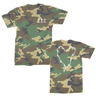 Frank Iero Barbed Wire Heart & Cross T-Shirt (Woodland Camo)
