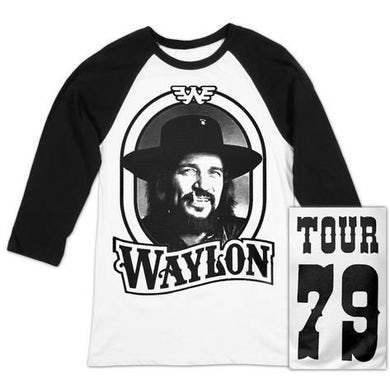 Waylon Jennings 79 Tour Raglan (White/Black)