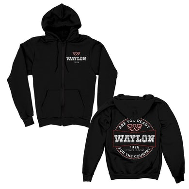 Waylon Jennings Are you Ready Zip Up Hoodie (Black)