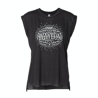 Waylon Jennings Buckle Logo Women's Tank (Black)