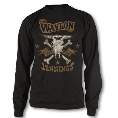 Waylon Jennings Drinkin and Dreamin Long Sleeve Tee (Black)