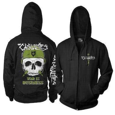The Casualties War Skull Zip Hoodie (Black)