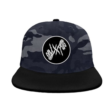 I Prevail Skele Hands Patch Snapback Hat (Night Camo)
