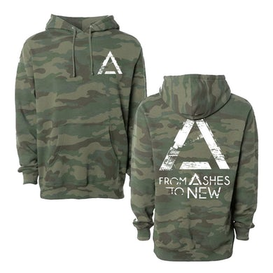 From Ashes to New Grunge Logo Pullover Hoodie (Camo)