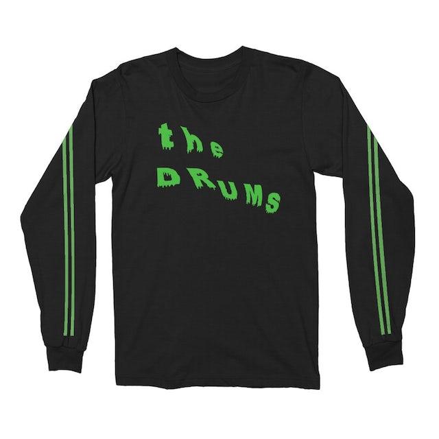 The Drums Slant Neon Green Drip Long Sleeve (Black)