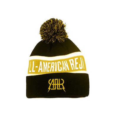 The All-American Rejects Logo Pom Beanie (Black/Yellow)