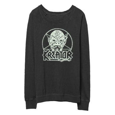 Kreator Pentagram Demon - Women's Crew Neck (Glow In The D