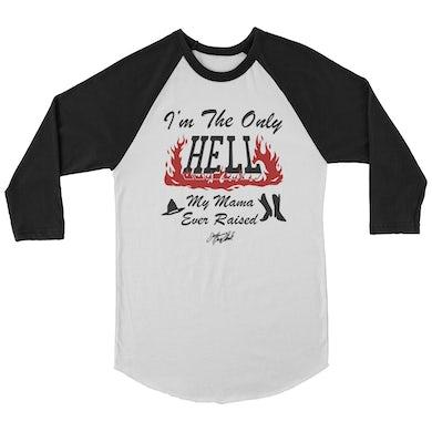 Johnny Paycheck Only Hell Raglan (White/Black)