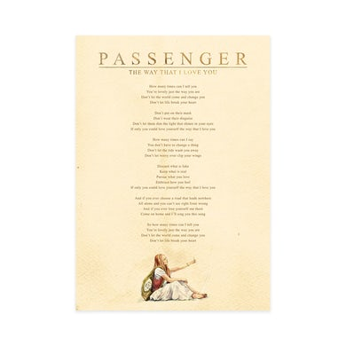 Passenger 'The Way That I Love You' Lyric Sheet