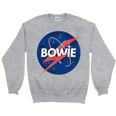 David Bowie Sweatshirt | Bowie NASA Inspired Logo David Bowie Sweatshirt
