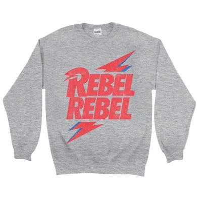 David Bowie Sweatshirt | Rebel Rebel Lightning Bolt Distressed David Bowie Sweatshirt
