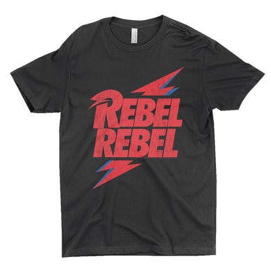 David Bowie T-Shirt | Rebel Rebel Lightning Bolt Distressed David Bowie Shirt