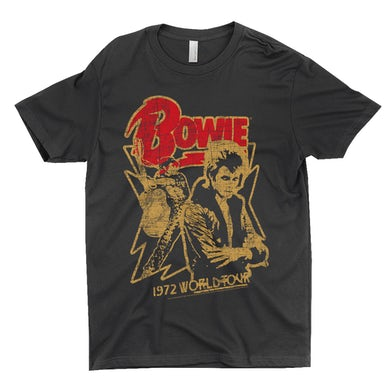 David Bowie T-Shirt | 1972 World Tour Design Distressed David Bowie Shirt
