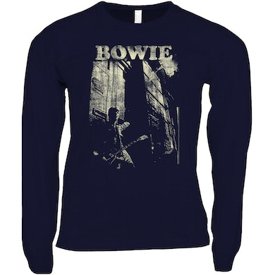 David Bowie Long Sleeve Shirt | David Bowie With Guitar Distressed David Bowie Shirt