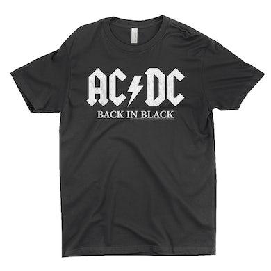 AC/DC T-Shirt | Back In Black US White Design ACDC Shirt