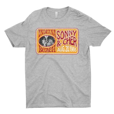 Sonny And Cher T-Shirt | Indiana Beach Red And Gold Concert Banner Distressed Sonny And Cher Shirt