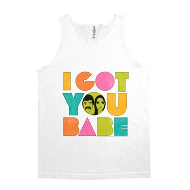 Sonny and Cher Unisex Tank Top | I Got You Babe Pastel Logo Distressed Sonny and Cher Shirt