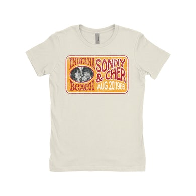Sonny and Cher Ladies' Boyfriend T-Shirt | Indiana Beach Red And Gold Concert Banner Distressed Sonny and Cher Shirt