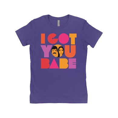 Sonny and Cher Ladies' Boyfriend T-Shirt | I Got You Babe Bright Logo Image Sonny and Cher Shirt