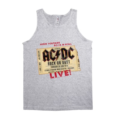 AC/DC Unisex Tank Top   Rock or Bust Manchester England Concert Ticket ACDC Shirt