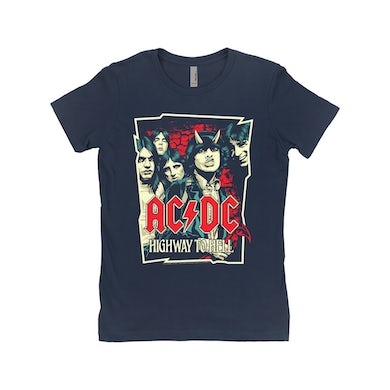AC/DC Ladies' Boyfriend T-Shirt | Highway To Hell Red Design ACDC Shirt